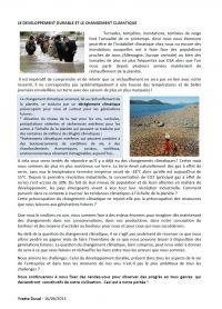 développement durable et changement climatique